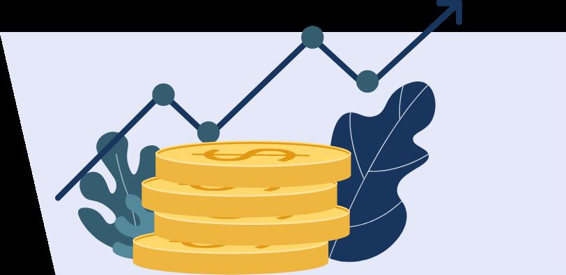 marco fiscal moneda con flecha ascendente